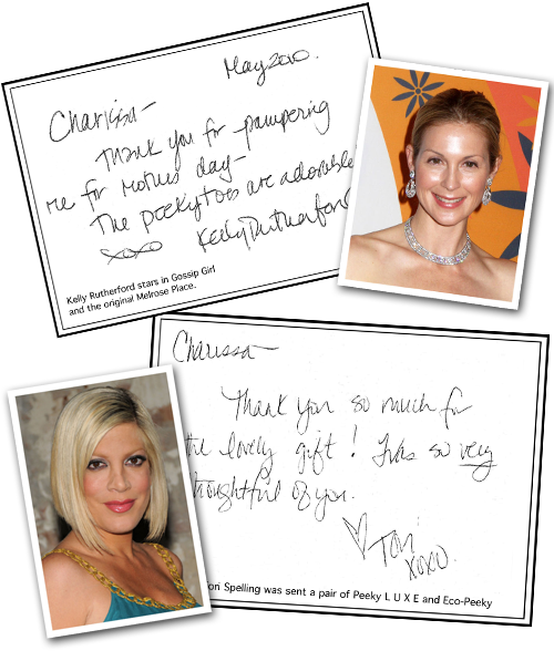 Kelly Rutherford, star of Gossip Girl and the original Melrose Place, enjoyes Peeky Toes. Tori Spelling was sent a pair of Peeky LUXE and Eco-Peeky.